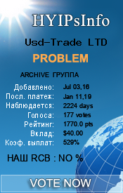 Usd-Trade LTD Monitoring details on HYIPsInfo.com