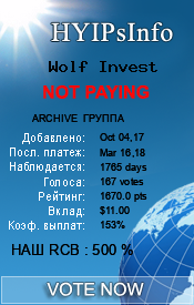 Wolf Invest Monitoring details on HYIPsInfo.com