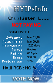 Cryplister Limited Monitoring details on HYIPsInfo.com