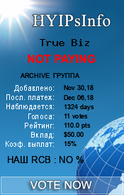 True Biz Monitoring details on HYIPsInfo.com