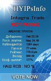 Integra Trade Monitoring details on HYIPsInfo.com