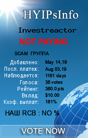 Investreactor Monitoring details on HYIPsInfo.com